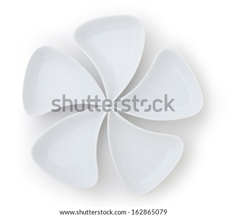 empty white porcelain dishes - stock photo