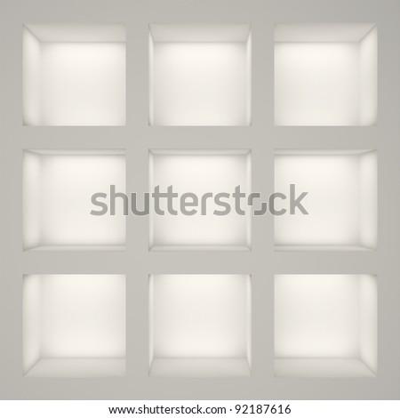 Empty white rack with shelves - stock photo