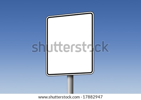 Empty white road sign against blue sky - stock photo