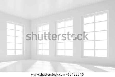 Empty White Room - stock photo