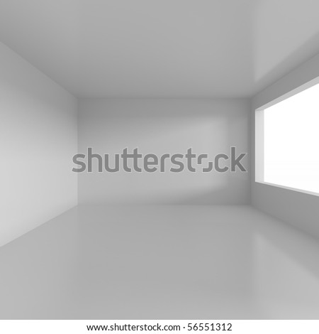 Empty white room - 3d illustration - stock photo