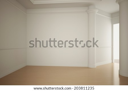 Empty white room interior in an apartment with stucco - stock photo