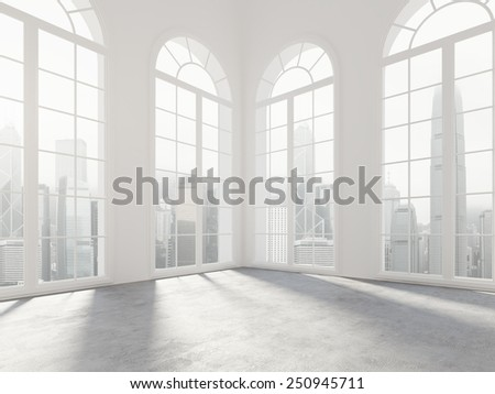 Empty white room with big windows. 3d rendering - stock photo