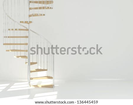 Empty white room with circular staircase, interior design. 3d render - stock photo