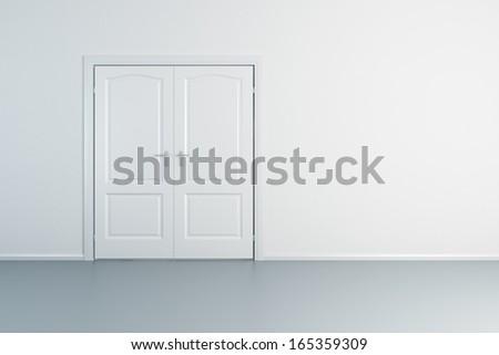 empty white room with closed door - stock photo