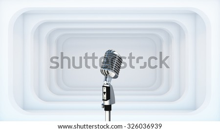 Empty White Room with Microphone - 3d Perspective illustration