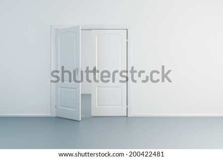 empty white room with opened door - stock photo