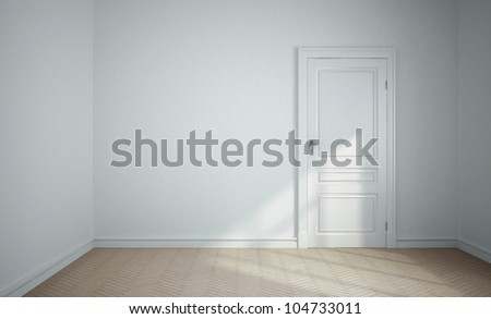 empty white room with white door - stock photo