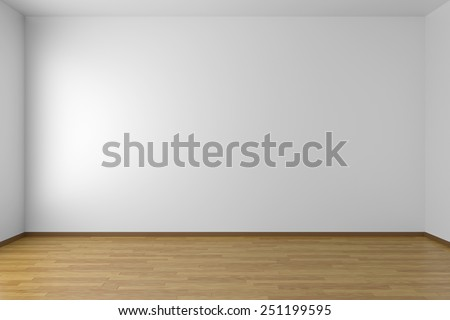Empty white room with white walls and wooden parquet floor, 3D illustration - stock photo