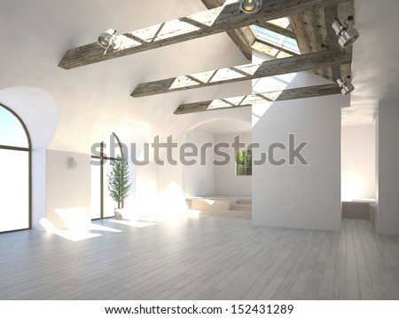 Empty white room with wooden beam and large windows - stock photo