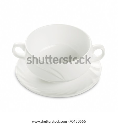 Empty white round soup bowl on a plate plate