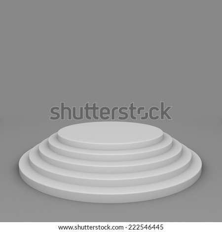 Empty white round steps podium 3D render. - stock photo