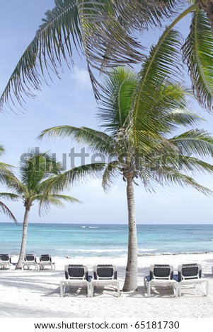 Empty white sand beach, ocean and palm trees in Mexico, Riviera Maya - stock photo