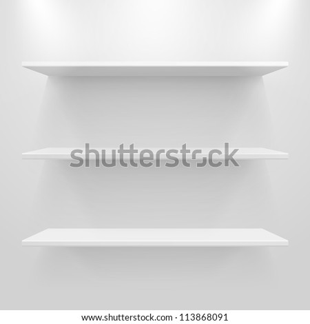 Empty white shelves on light grey background. Raster copy of vector illustration - stock photo