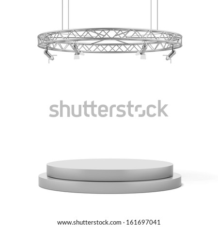 Empty white stage - stock photo