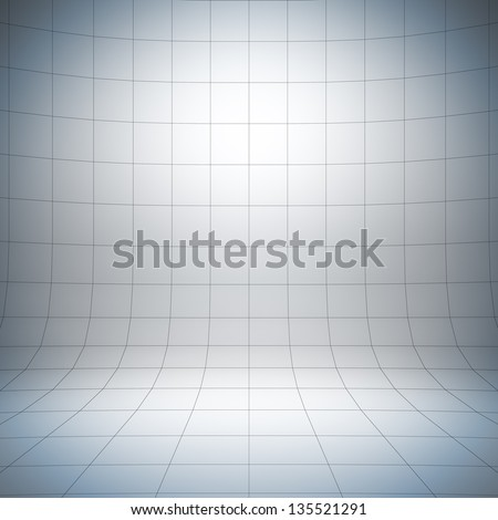 Empty white surface. A 3d illustration of blank template layout of simple stage with grid. - stock photo