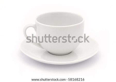 empty white tea cup and saucer over white - stock photo