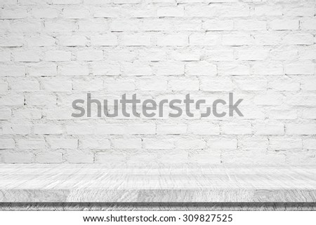 Empty white vintage wooden table over white brick wall background, vintage, background, template, display - stock photo