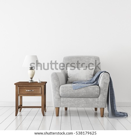 Empty white wall mock-up with neutral velvet armchair and lamp on wooden floor. 3D rendering.