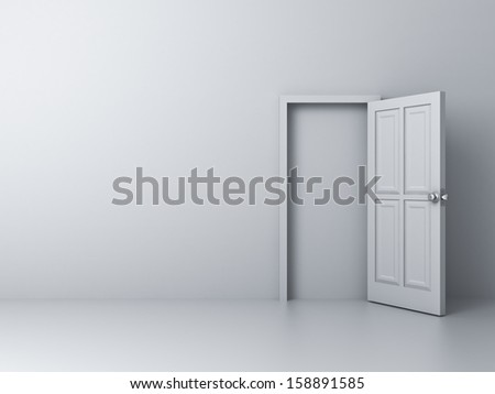 Empty white wall with blocked door