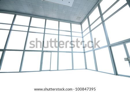 Empty white wide interior - stock photo