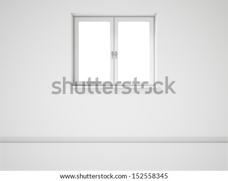Empty White Window on White Wall - stock photo