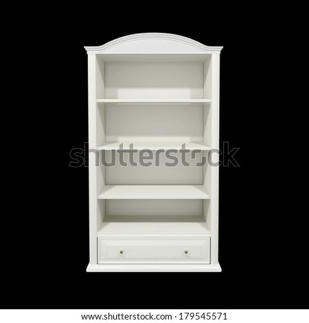 empty white wooden book shelf isolated on black - stock photo