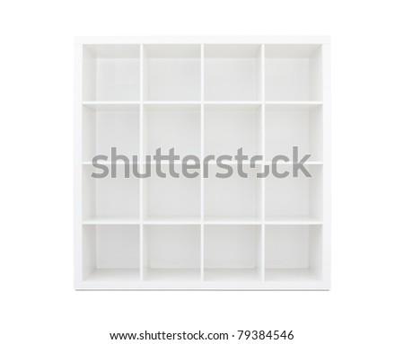 Empty white wooden bookshelf - stock photo