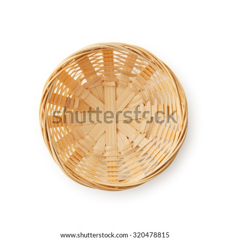 Empty Wicker Basket , Clipping path , isolated on white