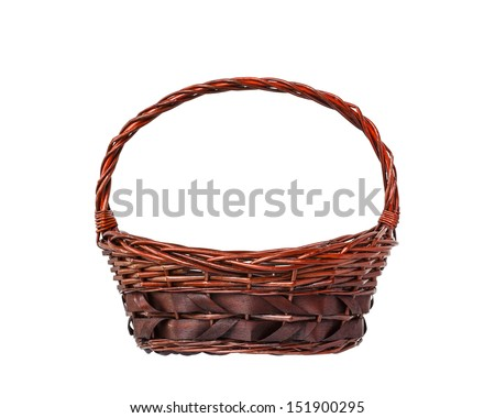 Empty wicker basket isolated on white background - stock photo
