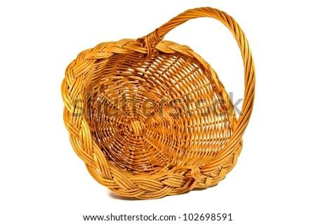 Empty wicker basket isolated on white background, closeup - stock photo