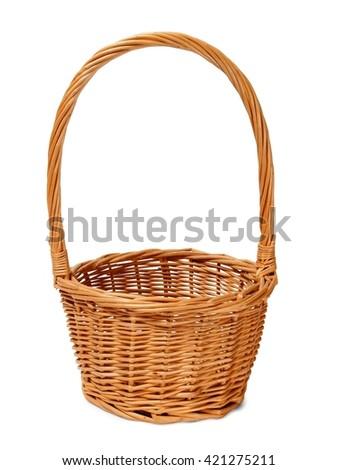 Empty wicker basket on white background - stock photo