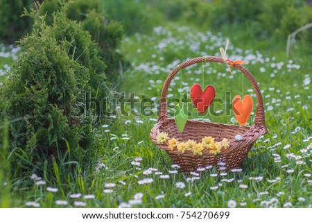 Empty Wicker Picnic Gift Basket Decorated Tissue Felt Heart Rustic Landscape Green Meadow Flowers Chamomile Daisies