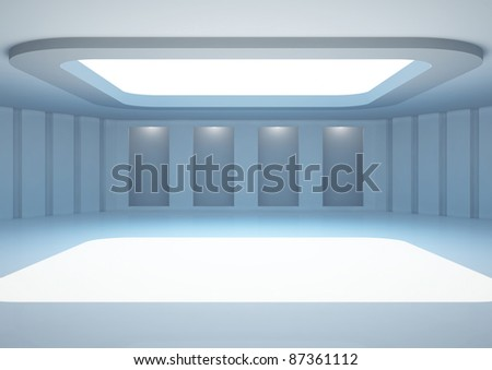 empty wide gallery with skylight and niches for exhibits - 3d illustration - stock photo