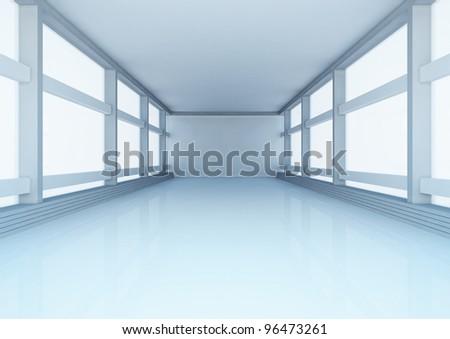 empty wide hall, futuristic spacious interior - 3d illustration - stock photo