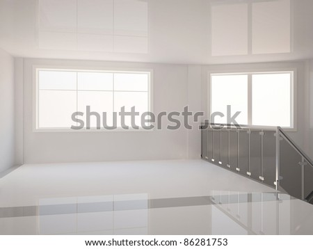 empty wide hall with stair railing - 3d illustration - stock photo