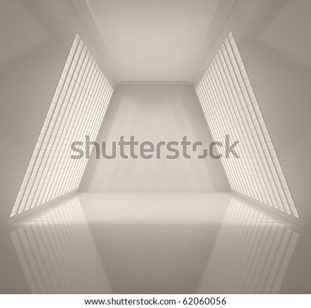 Empty Wide Interior - 3d illustration - stock photo