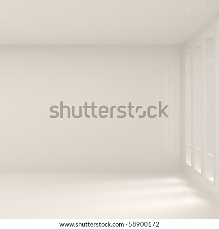 Empty Wide Interior with Windows - 3d illustration - stock photo
