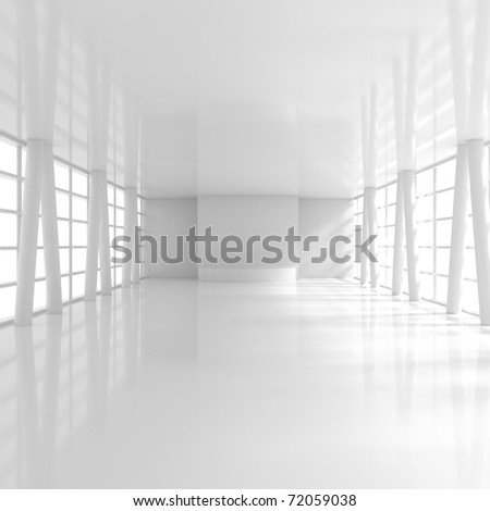 Empty Wide Reception - 3d illustration - stock photo