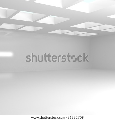 Empty Wide Room - 3d illustration - stock photo