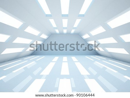 empty wide room, futuristic interior - 3d illustration - stock photo
