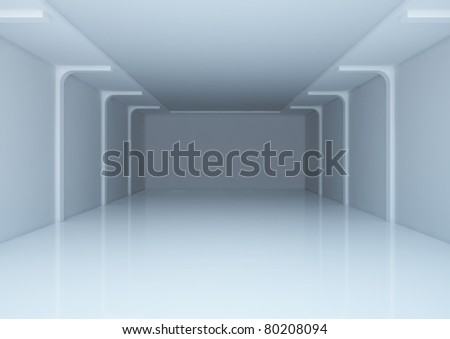 empty wide room, warehouse space - 3d illustration - stock photo