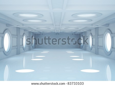 empty wide room with balks and round skylights - 3d illustration - stock photo