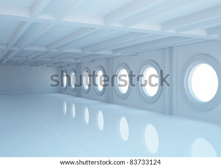 empty wide room with balks and round windows - 3d illustration - stock photo
