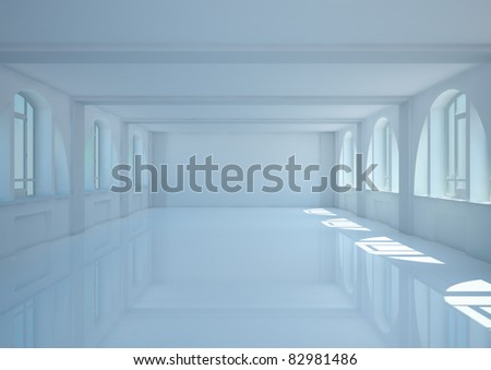 empty wide room with big arched windows and balks - 3d illustration