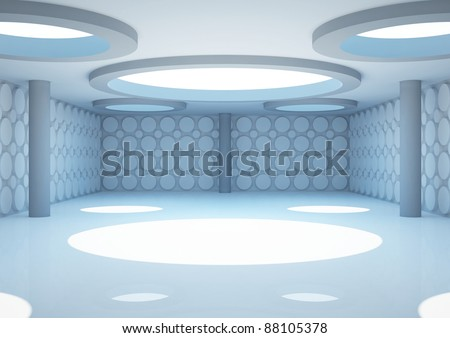 empty wide room with columns and geometric walls, interior showroom - 3d illustration - stock photo