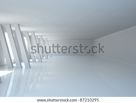 empty wide room with columns - 3d illustration - stock photo
