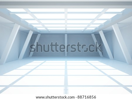 empty wide room with columns, interior showroom - 3d illustration - stock photo