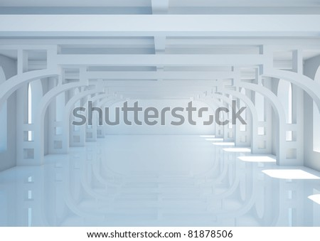 empty wide room with decorative columns and balks - 3d illustration