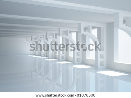 empty wide room with decorative columns - 3d illustration